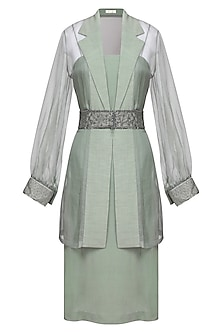 Mint green embroidered jacket with dress and belt