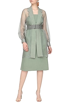 Mint green embroidered jacket with dress and belt by SHEENA SINGH