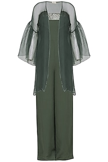 Green embroidered tube jumpsuit with jacket