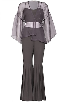 Purple embroidered jacket with pants and bustier