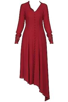 Red embroidered long sleeves dress