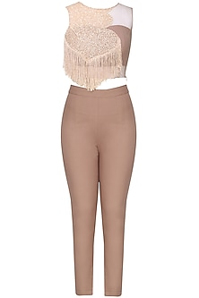 Nude embroidered crop top with pants