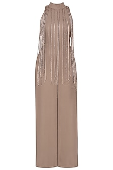 Nude embroidered jumpsuit
