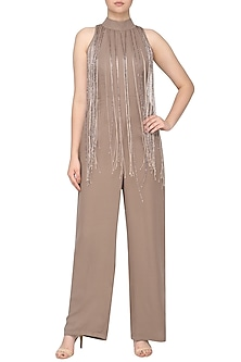 Nude embroidered jumpsuit by SHEENA SINGH