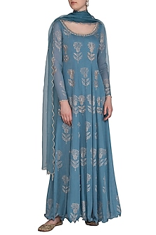 Blue Embroidered Printed Anarkali With Dupatta by Show Shaa