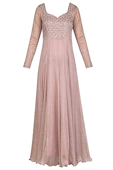 Onion Mauve Embroidered Printed Anarkali With Dupatta by Show Shaa