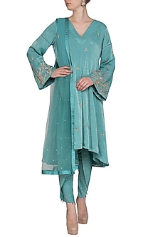 Sea Green Embroidered Anarkali Set by Show Shaa