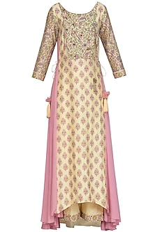 Lemon Yellow Embroidered Printed Angrakha Anarkali Set by Show Shaa