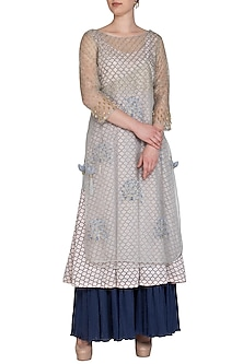 Blue Embroidered Angrakha With Printed Kurta & Pants by Show Shaa