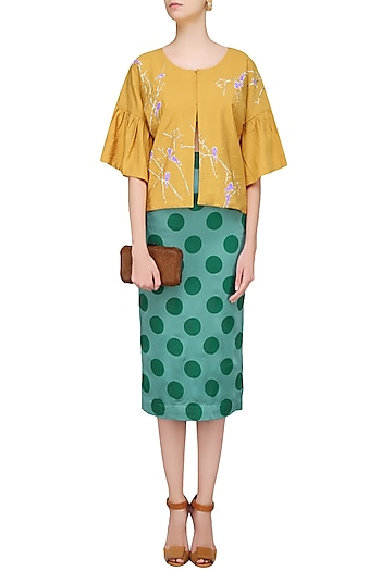 Yellow Birds Motifs Kimono Sleeves Cape by Show Shaa