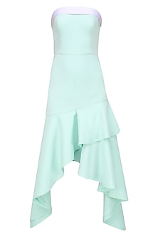 Mint Green Ruffle Strapless Cascade Gown by Shivani Awasty