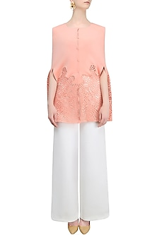 Blush Pink Laser Cut Cape Jacket With White Pants by Shivani Awasty