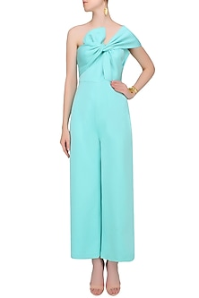 Aqua Blue Bow Tie Up Off Shoulder Jumpsuit by Shivani Awasty