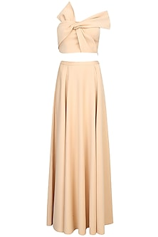 Nude Off Shoulder Bow Tie Up Crop Top With Skirt by Shivani Awasty