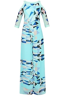 Mint Green Optic Print Cold Shoulder Jumpsuit by Shivani Awasty