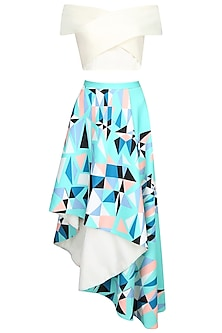 White Cross Over Top With Mint Green Printed Asymmetric Skirt