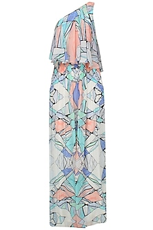 Multicolored Network Print One Shoulder Maxi Dress