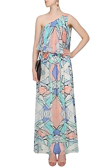 Multicolored Network Print One Shoulder Maxi Dress by Shivani Awasty