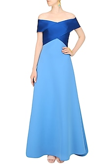 Cerulean Blue Dual Toned Evening Gown by Shivani Awasty