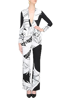 Black And White Optic Print Peplum Jacket With Matching Pants by Shivani Awasty