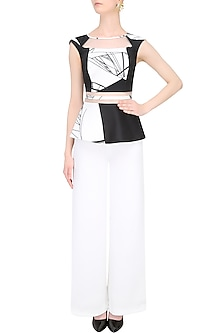Black And White Optic Print Peplum Top by Shivani Awasty