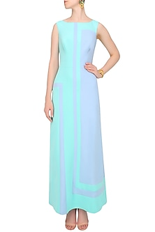Mint Green And Lavender Cut Out Maxi Dress by Shivani Awasty