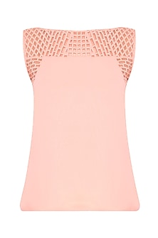 Blush Pink Laser Cut Trapeze Top by Shivani Awasty