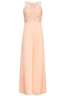 Peach Laser Cut Sleeveless Jumpsuit by Shivani Awasty