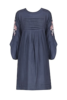 Navy embroidered petal sleeves Dress