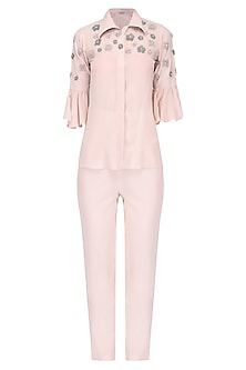Pink floral sequin embellished shirt and pant set/ Coordinates