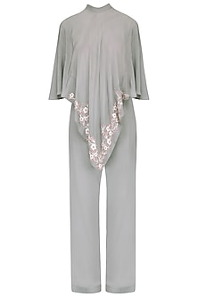 Grey embroidered cape and pant set/ Coordinates