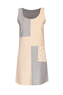 Pink and grey reversible monotone shift dress