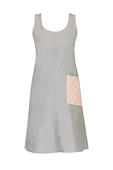 Grey reversible monotone shift dress
