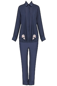 Navy floral motifs monotone top and pants set