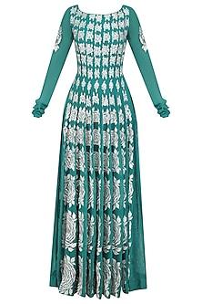 Ferozi Green Resham Embroidered Floor Length Anarkali by Jhunjhunwala