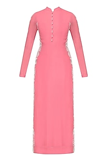 Bright Pink Resham Embroidered Straight Kurta with Pants
