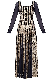 Navy Blue Zardozi Embroidered Anarkali Set<br />