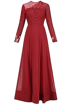 Red Resham Emroidered Sheer Gown<br />