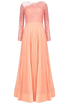 Peach Resham Emroidered Sheer Gown<br />