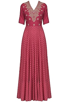 Dark Pink Zardozi Embroidered Gown