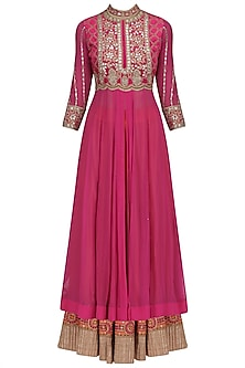 Bright Pink Gota Patti Embroidered Anarkali and Lehenga Set