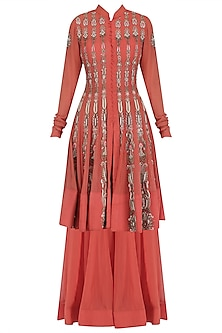 Burnt Orange Embroidered Jacket Style Anarkali and Palazzo Pants Set