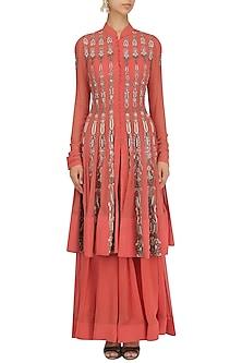 Burnt Orange Embroidered Jacket Style Anarkali and Palazzo Pants Set by Jhunjhunwala