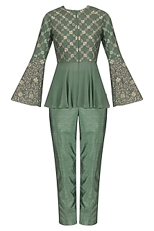 Sea Green Embroidered Peplum Jacket with Straight Pants