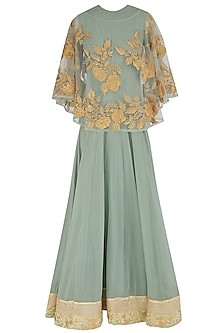Sea Green Pleated Anarkali and Cape Set