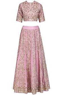 Muavish Pink Hand Embroidered Lehenga Set