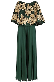 Emerald Green Off Shoulder Cape and Palazzo Pants Set
