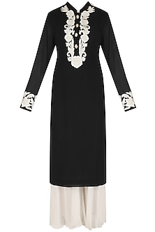 Black Hand Embroidered Kurta and White Palazzos Set