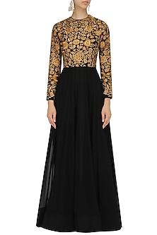 Black Zari Embroidered Flared Gown by Jhunjhunwala