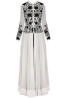Black and White Embroidered Anarkali with Straight Pants
